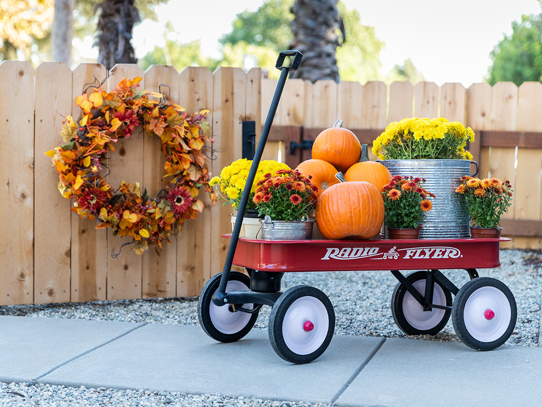 Pumpkin and flowers wagon